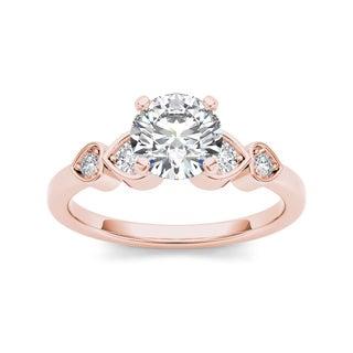 De Couer 14k Rose Gold 1ct TDW Diamond Heart Side Stone Ring