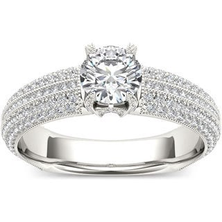 De Couer 14k White Gold 1 1/2ct TDW Diamond Pave Band Engagement Ring