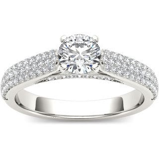 De Couer 14k White Gold 1ct TDW Diamond Pave Side Stone Engagement Ring