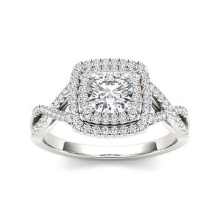 De Couer 14k White Gold 1 1/10ct TDW Diamond Double Halo Criss-cross Shank Engagement Ring (H-I, I2)
