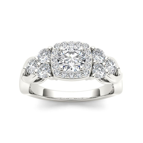 De Couer 14k White Gold 1 1/2ct TDW Diamond Halo Engagement Ring