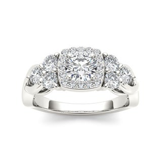 De Couer 14k White Gold 1 1/2ct TDW Diamond Halo Engagement Ring