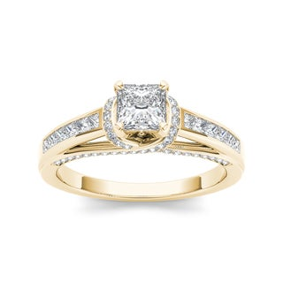 De Couer 14k Yellow Gold 1ct TDW Princess-cut Diamond Engagement Ring