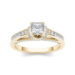 De Couer 14k Yellow Gold 1ct TDW Princess-cut Solitaire Diamond Engagement Ring (Option: 7.25)|https://ak1.ostkcdn.com/images/products/9396262/P16585116.jpg?impolicy=medium