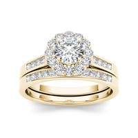 De Couer 14k Yellow Gold 1ct TDW Diamond Scallop Halo Engagement Ring