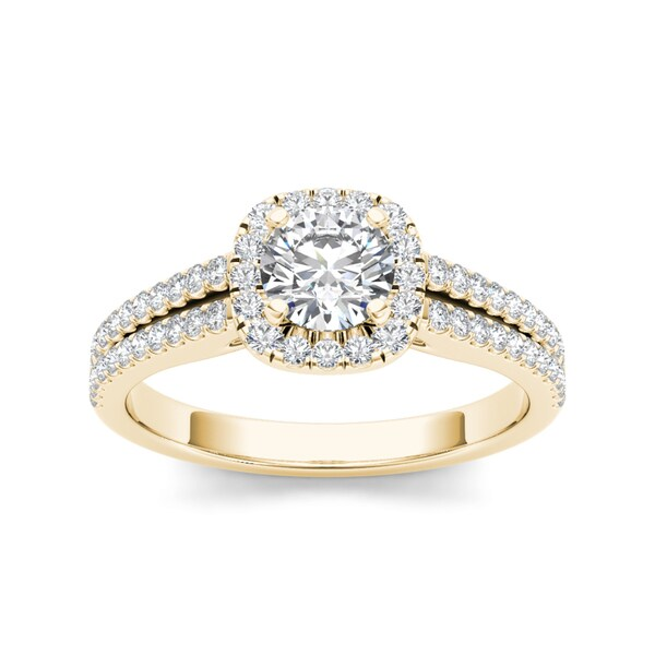 De Couer 14k Yellow Gold 1 1/10ct TDW Diamond Halo Engagement Ring