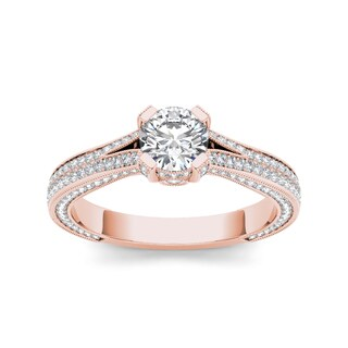 De Couer 14k Rose Gold 1 1/2ct TDW Diamond Side Stone Engagement Ring