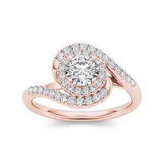 De Couer 14k Rose Gold 1ct TDW Diamond Swirl Engagement Ring