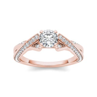 De Couer 14k Rose Gold 1ct TDW Diamond Engagement Ring (H-I, I2)