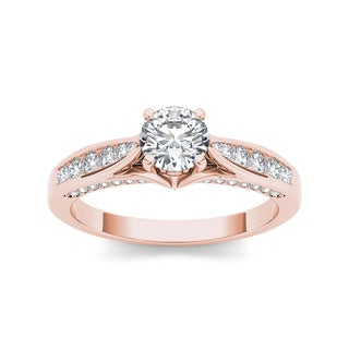De Couer 14k Rose Gold 1ct TDW White Diamond Engagement Ring