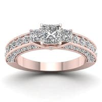 De Couer 14k Rose Gold 2 2/5ct TDW Diamond Princess-cut Three-stone Ring