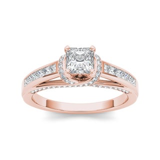 De Couer 14k Rose Gold 1ct TDW Princess-cut White Diamond Ring