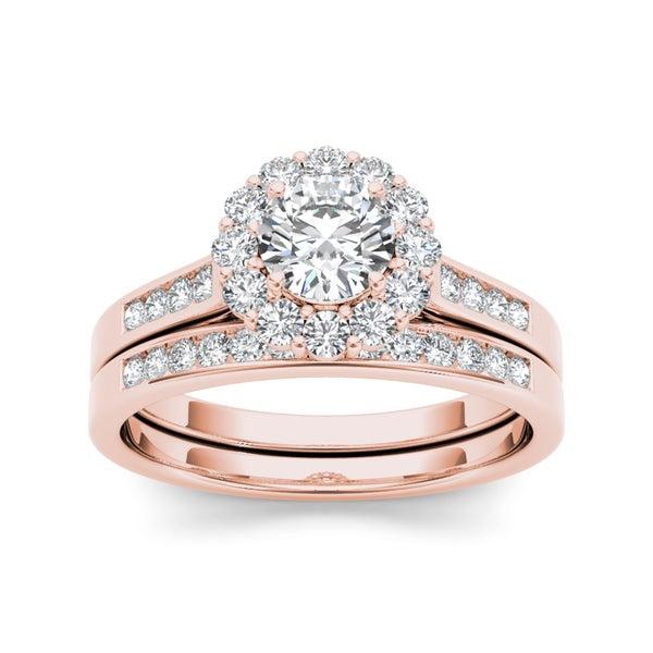 De Couer 14k Rose Gold 1ct TDW Diamond Engagement Ring