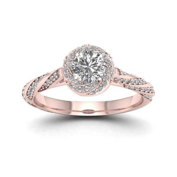 De Couer 14k Rose Gold 1ct TDW Diamond Vintage Swirl Engagement Ring - Pink