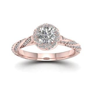 De Couer 14k Rose Gold 1ct TDW Diamond Vintage Swirl Engagement Ring - Pink|https://ak1.ostkcdn.com/images/products/9396287/P16585138.jpg?impolicy=medium