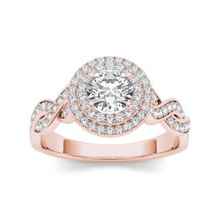 De Couer 14k Rose Gold 7/8ct TDW White Diamond Twisted Engagement Ring