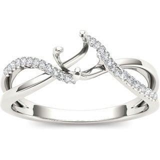 De Couer 10k White Gold Diamond Semi Mount Engagement Ring