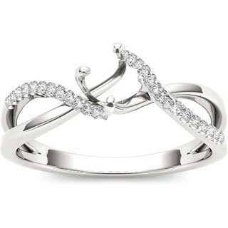 De Couer 10k White Gold Diamond Semi Mount Engagement Ring (More options available)