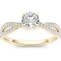 De Couer 14k Yellow Gold 1ct TDW Diamond Twist Engagement Ring