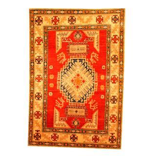 Herat Oriental Afghan Hand-knotted Tribal Kazak Rust/ Beige Wool Rug (3'9 x 5'6)