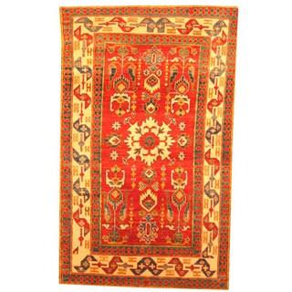 Herat Oriental Afghan Hand-knotted Tribal Kazak Red/ Beige Wool Rug (3'9 x 6'1)