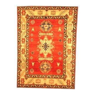 Herat Oriental Afghan Hand-knotted Tribal Kazak Rust/ Beige Wool Rug (4'5 x 6'2)