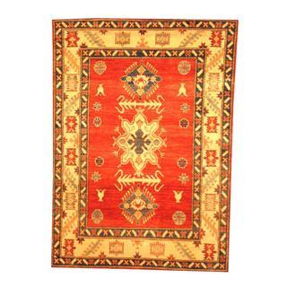 Handmade Herat Oriental Afghan Tribal Kazak Rust/ Beige Wool Rug (Afghanistan) - 4'5 x 6'2