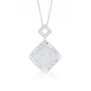 Blue Box Jewels Rhodium-plated Sterling Silver Cubic Zirconia Double Square Pendant Necklace