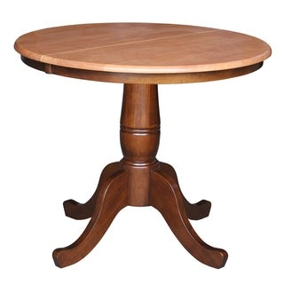 Round 36-inch Pedestal Table with 12-inch Leaf
