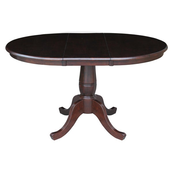 Beautiful 36 Inch Round Dining Table Part - 14: Round 36-inch Pedestal Table With 12-inch Leaf - Free Shipping Today -  Overstock.com - 16585235