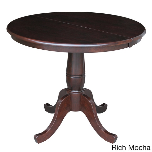 Round 36 inch pedestal table with 12 inch leaf free for Round pedestal table with leaf