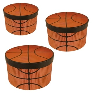 Wald Imports Football Paperboard Stackable Boxes (Set of 3)
