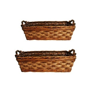 Wald Imports Carved Willow Basket with Handles (Set of 2)