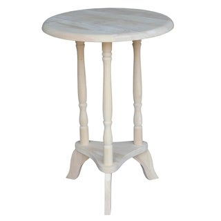 Round Unfinished Solid Parawood Plant Table