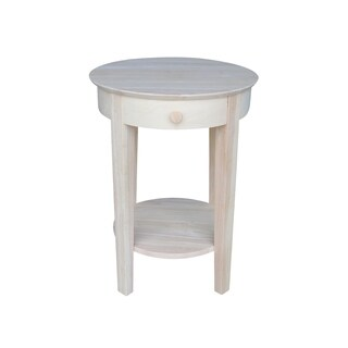 Unfinished Solid Parawood Philips Accent Table