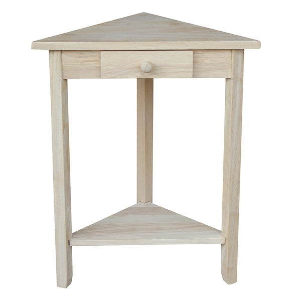 Unfinished Solid Parawood Corner Accent Table