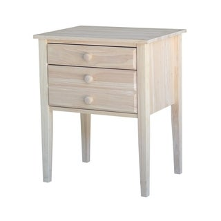 Unfinished Solid Parawood 2-drawer Accent Table