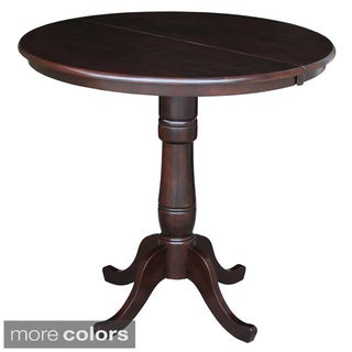 Round 36-inch Top Pedestal Table with 12-inch Leaf