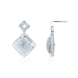Blue Box Jewels Rhodium-plated Sterling Silver Double Square Dangle Earrings