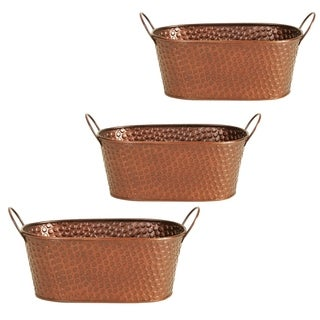 Wald Imports Hammered Coppertone 9-inch Metal Planter (Set of 3)