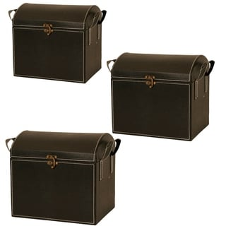 Wald Imports Black Leatherette Decorative Trunk (Set of 3)