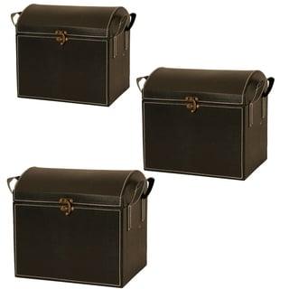 Wald Imports Black Leatherette Decorative Trunk (Set of 3)