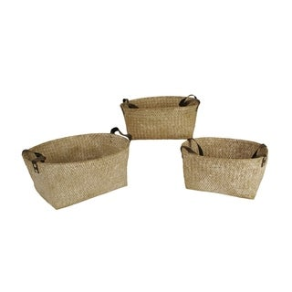 Wald Imports Woven Seagrass Nesting Basket with Handles (Set of 3)