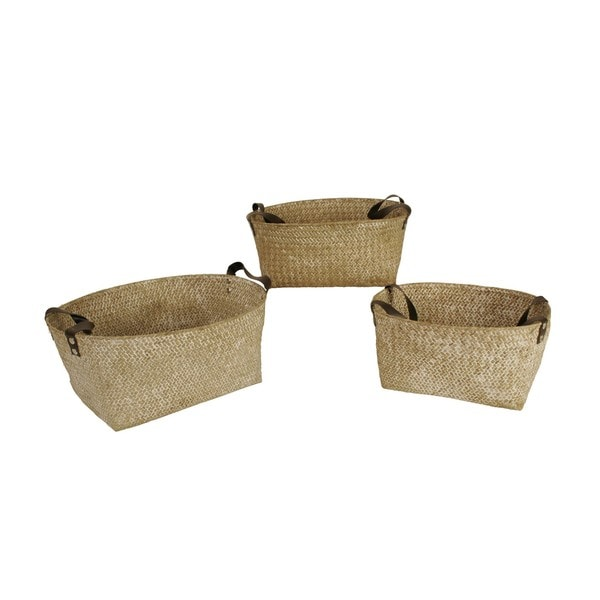 Wald Imports Woven Seagrass Nesting Basket With Handles