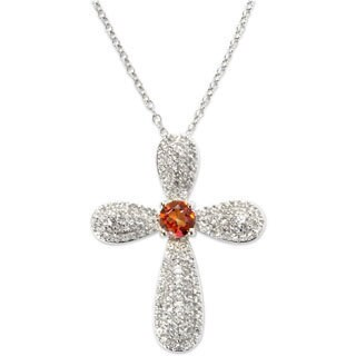 Sterling Silver Sunset Topaz and Natural White Cubic Zirconia Cross Pendant