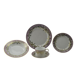 Pink and Goldtone Floral Patterned 40-piece Dinnerware Set