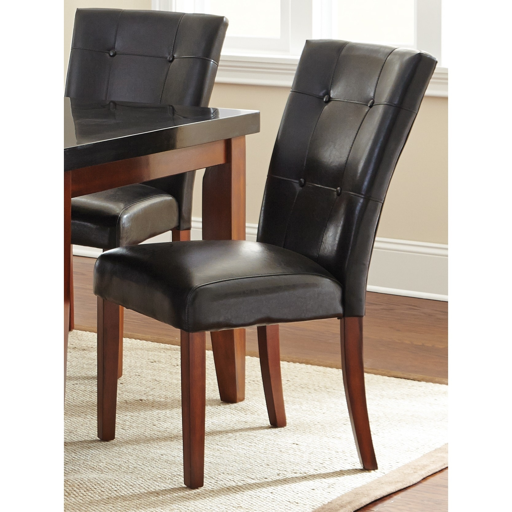 Bailey Black Button-tufted Parson Chair (Set of 2) by Gre...