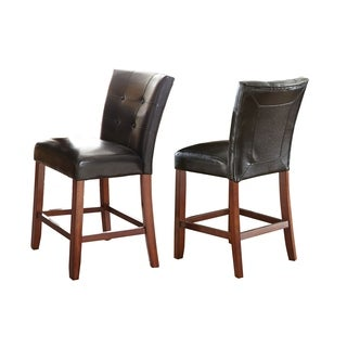 Greyson Living Bailey Black and Medium Cherry Counter-height Parson Chair (Set of 2)