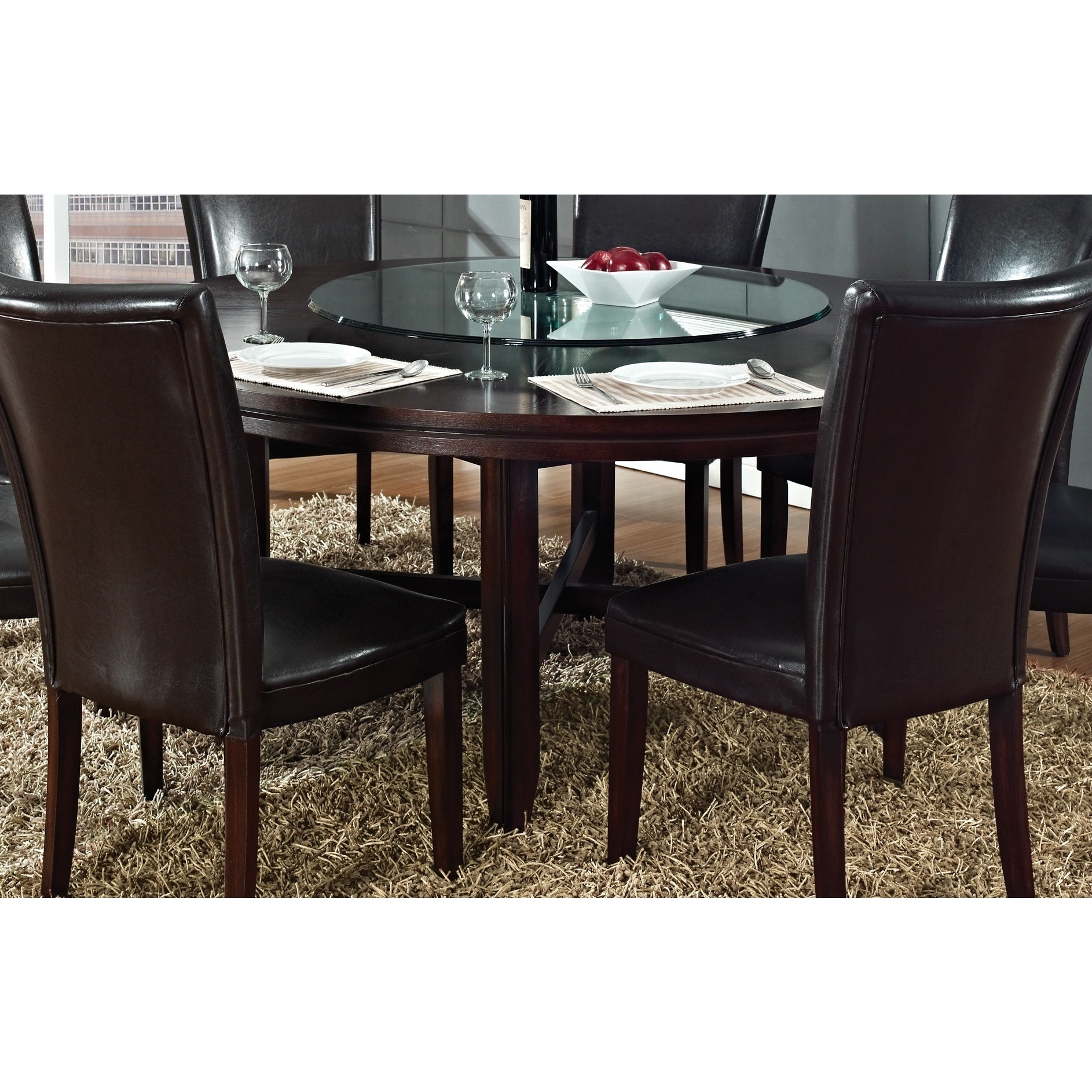 Hampton Dark Brown Cherry 72 Inch Round Dining Table With Optional Lazy Susan By Greyson Living