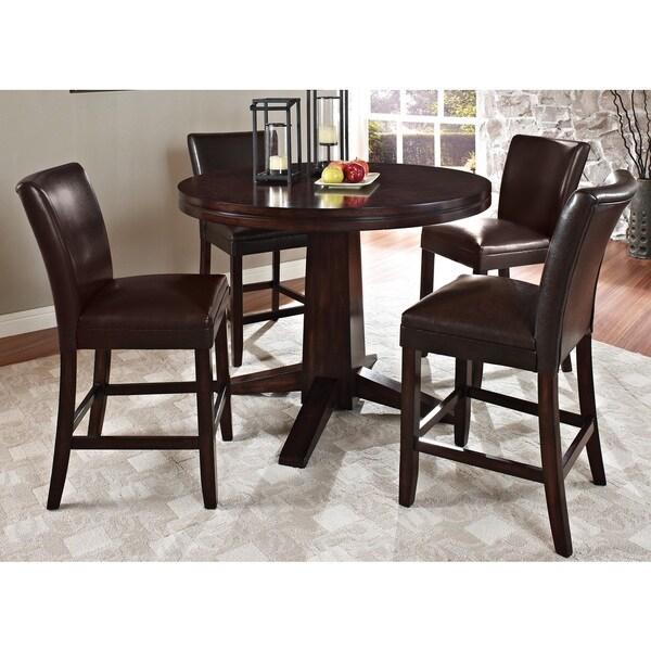 Greyson Living Hampton Dark Brown Cherry 5 Piece Counter Height Dining Set